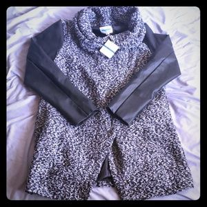 Leather and Wool Like Coat